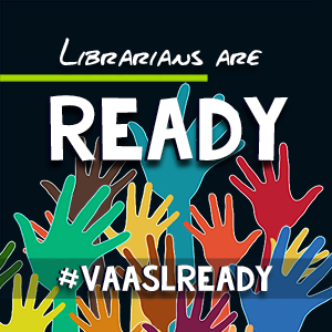 raised hands on a field of navy with the text 'Librarians are READY""